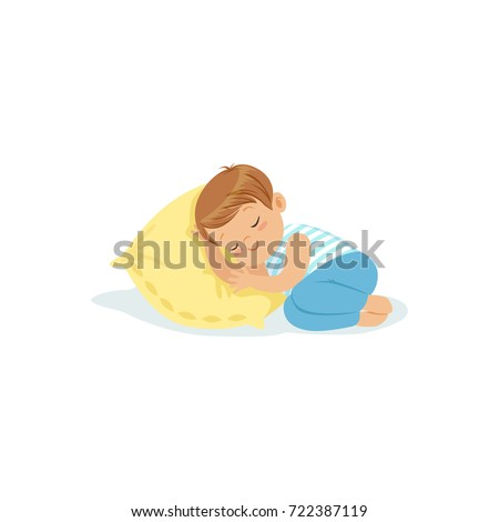 Cute little boy sleeping on a pillow cartoon character, adorable sleeping child vector illustration