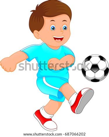 cute little boy soccer player