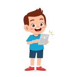 cute little boy using smartphone and internet