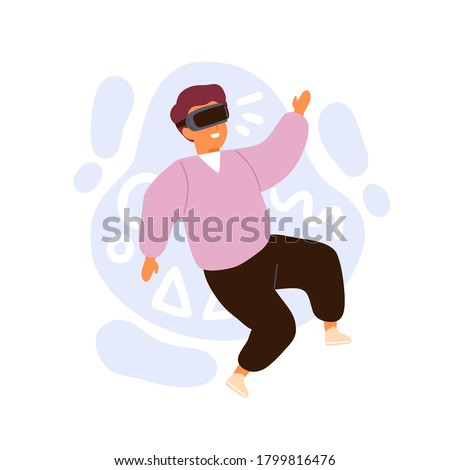 Cute little boy wearing vr glasses immersing in cyberspace vector flat illustration. Cheerful male child in 3d headset at virtual reality world isolated on white. Playing online game simulated space