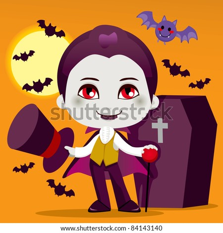 Cute little boy with Count Dracula vampire costume for Halloween night party