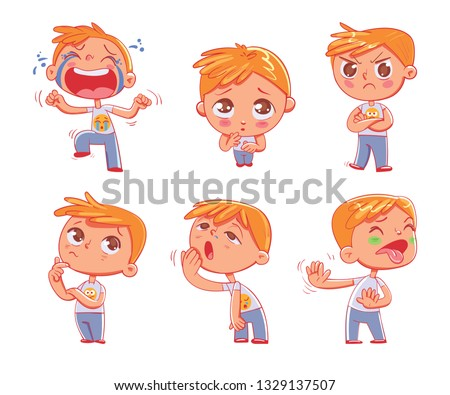 Cute little boy with different emotions. Emoji Stickers Emotions. Funny cartoon colorful character. Set. Isolated on white background. Vector illustration