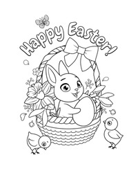 Cute little bunny and chicks with basket full of spring flowers and eggs. Happy Easter greeting with cartoon vector black and white illustration for coloring book page.