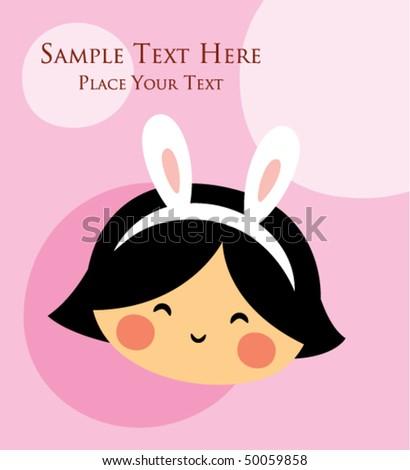 cute little bunny angel greeting
