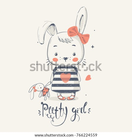 Stock Photo Cute little bunny gilrl with toy. cartoon hand drawn vector illustration. Can be used for baby t-shirt print, fashion print design, kids wear, baby shower celebration, greeting and invitation card.