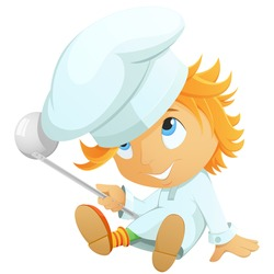 Cute little cartoon chef in hat isolated on white background. Vector illustration.