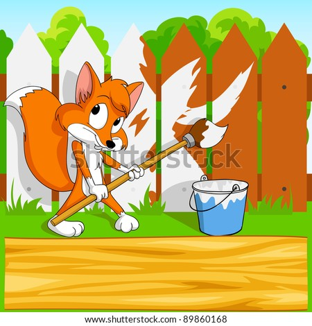 Cute little cartoon fox with paintbrush and wooden board on fence background. Vector illustration.