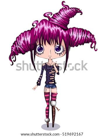 cute little cartoon girl with