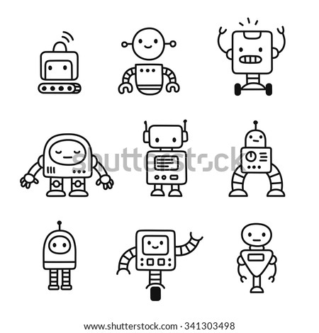 cute little cartoon robots set