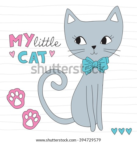 Stock Photo cute little cat vector illustration