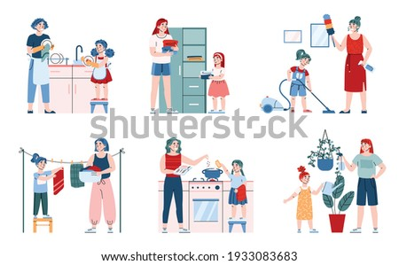 Cute little child girl helping her mother with household chores, cartoon vector illustration isolated on white background. Childrens responsibilities around the house. Stock photo ©