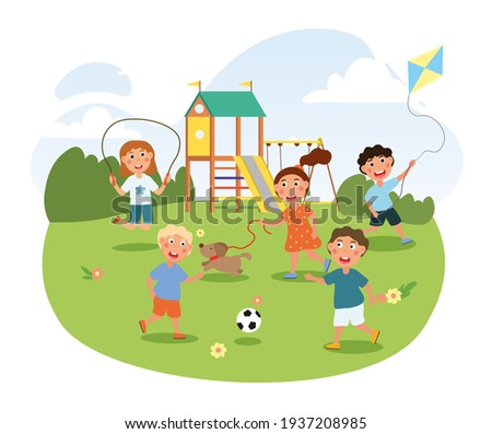 Cute little children are playing on the playground in park. Concept of breaktime in kindergarten. Outdoor activity on a hot summer day. Happy kids having fun in park. Flat cartoon vector illustration