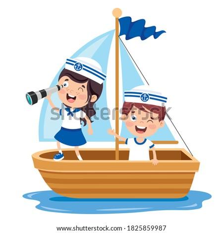 Cute Little Children In Sailor Uniform