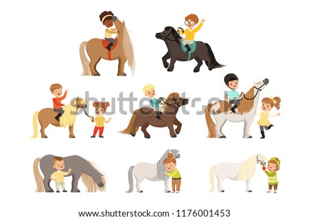 Cute Little Children Riding Ponies And Taking Care Of Their Horses Set Equestrian Sport