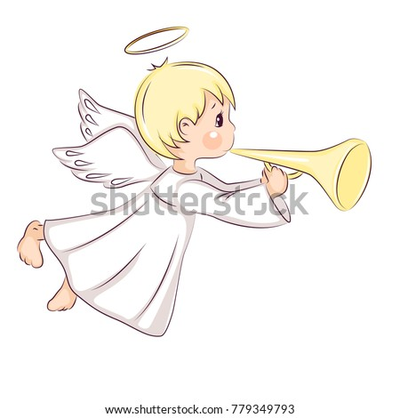 stock-vector-cute-little-christmas-angel-he-flying-and-trumpet-on-pipe-vector-isolated-on-white-background