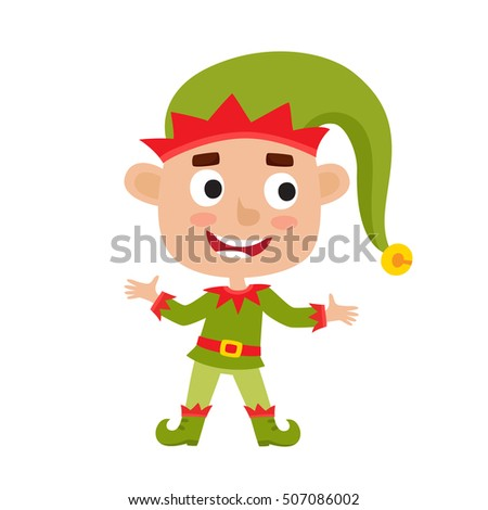 Cute little Christmas boy elf smiling, vector illustration isolated on white used for magazine or book, poster and card, web pages.