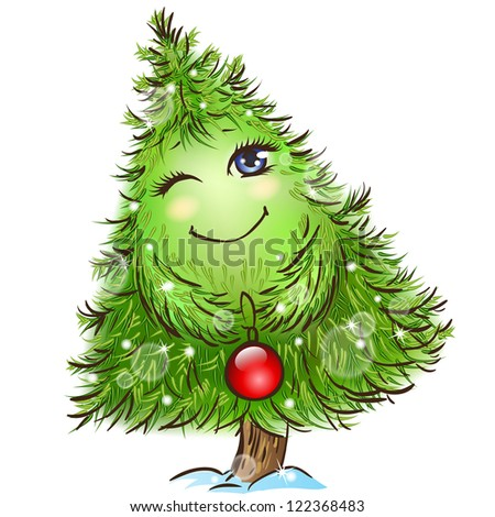 Cute little christmas tree character with a red ball