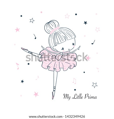 Cute little dancing Ballerina. Simple linear isolated vector graphic on a white background. Fashion illustration for kids clothing. Use for print, surface design, fashion wear Foto stock ©