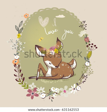 cute little deer with floral