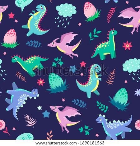 cute little dinosaurs on a blue