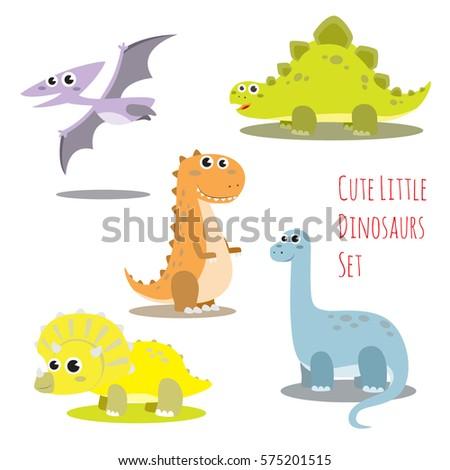 cute little dinosaurs vector illustration set. including Tyranosaurus rex, pteranodon, stegosaurus, brontosaurus and triceratops