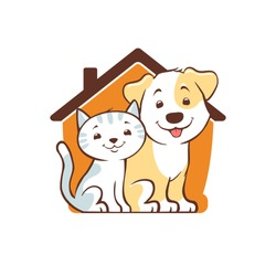 cute little dog and kitten home logo. cartoon pet house, animal rescue, boarding and care symbol. vector illustration