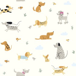 Cute little dogs. Hand drawn vector seamless pattern
