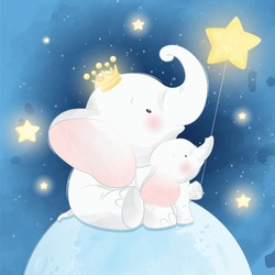 Cute little elephant father and son sitting in the moon