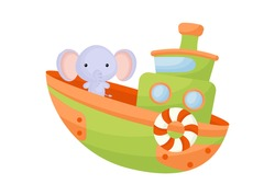 Cute little elephant sailing on green ship. Cartoon character for childrens book, album, baby shower, greeting card, party invitation, house interior. Vector stock illustration.