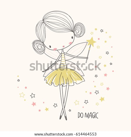 Cute little fairy. Nursery vector  illustration. Can be used for kid's clothing. Use for print, surface design, fashion wear
