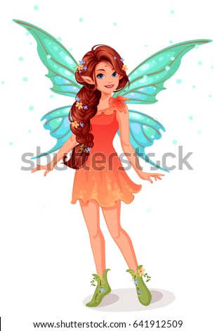 Cute little fairy with beautiful long braided hairstyle