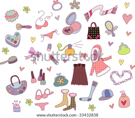 cute little fashion icons set