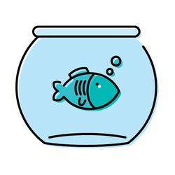 cute little fish in aquarium vector illustration design