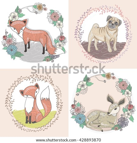Cute little fox, deer and pug illustration set in floral frames. cute animal, cute animal, cute animal, cute animal , cute animal, cute animal, cute animal, cute animal, cute animal, cute animal,