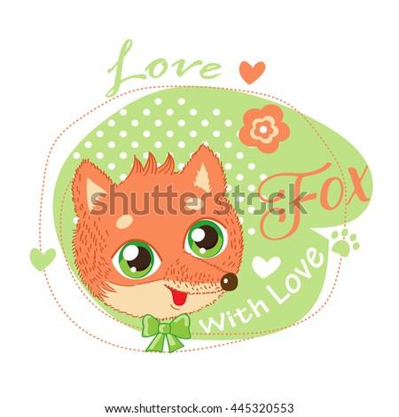 cute little fox in green