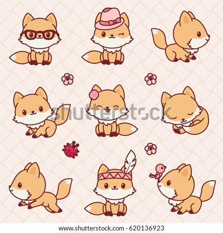 cute little foxes in kawaii