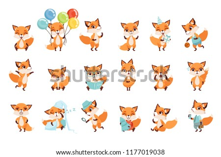 Cute little foxes showing various emotions and actions. Cartoon characters of forest animals. Flat vector design for mobile app, sticker, kids print, greeting card