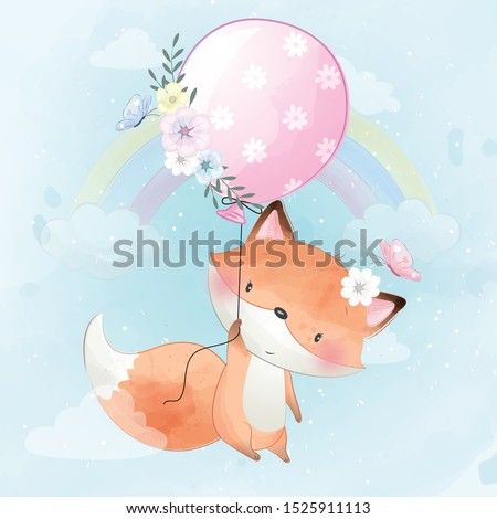cute little foxy flying with