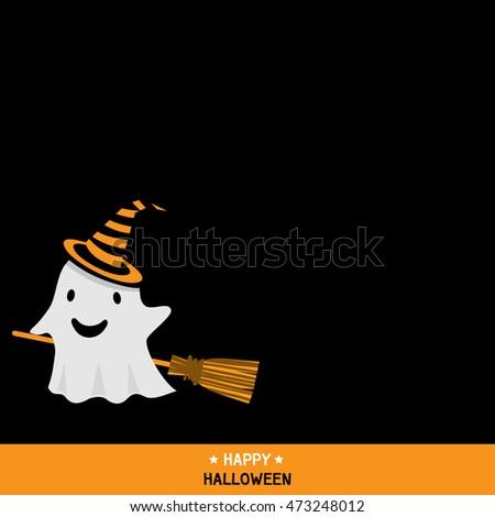 cute little ghost wear witch