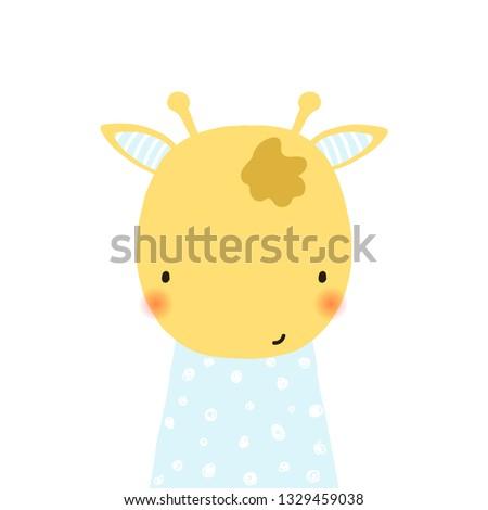 cute little giraffe kids hand