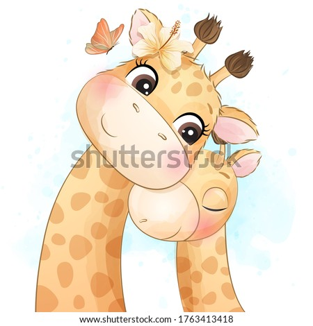 cute little giraffe mother and