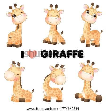 Cute little giraffe poses with watercolor illustration Foto stock ©
