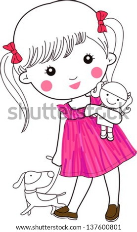 Stock Photo Cute little girl and dog