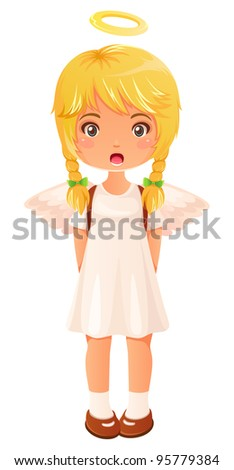 cute little girl dressed like an angel singing - stock vector