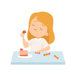 Cute Little Girl Eating Cake and Sweets Vector Illustration