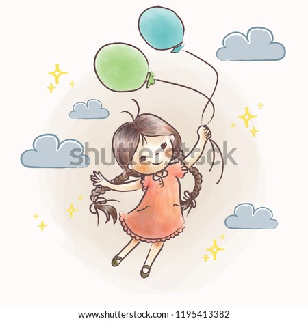 cute little girl flying holding