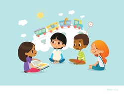 Cute little girl holding book and telling story to her friends sitting around on floor and imagining animals traveling on train. Smiling children listening to fairy tale. Cartoon vector illustration.