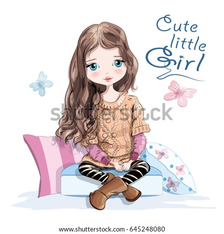 Cute little girl in knitted sweater and skirt sitting on soft pillows. Beautiful young girl with long hair. Hand drawn girl. Sketch. Vector illustration.