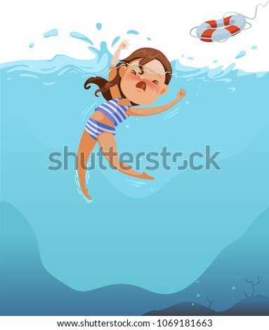 Cute little girl in swimsuit is cramping. Children are drowning the deep sea. Efforts above water. Shock and panic. Ask for help. Rubber tires are thrown to save lives.Dangers, Water Sports and Rescue Stock photo ©