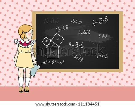 Cute little girl near school blackboard with mathematical problems. Vector illustration.